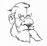 Caricature Prints - Alfred Wallace, Caricature Print by Gary Brown