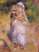 Turban Framed Prints - Algerian Woman and Child Framed Print by Pierre Auguste Renoir