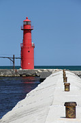 Beauty Mark Framed Prints - Algoma Lighthouse Pier Framed Print by Mark J Seefeldt