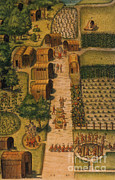Cornfield Prints - Algonquian Village, 1585 Print by Photo Researchers