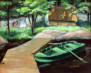 Row Boat Prints - Algonquin Fishing Camp Print by Otto Werner