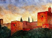 Alhambra De Granada Prints - Alhambra at sunset Print by Barbara Smith