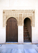 Muslim Posters - Alhambra door and stairs Poster by Jane Rix