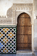 Arabic Prints - Alhambra door detail Print by Jane Rix