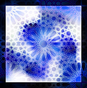Moorish Digital Art - Alhambra Pattern Blue by Hakon Soreide