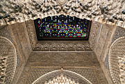 Moorish Architecture Framed Prints - Alhambra stained glass detail Framed Print by Jane Rix