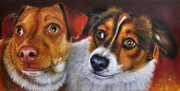 Puppies Paintings - ALI and ILU by Jurek Zamoyski