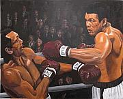 Muhammad Paintings - Ali vs Foster by Kenneth Kelsoe