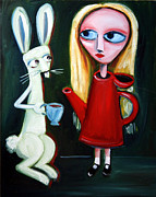Mad Hatter Painting Posters - Alice A Tea Pot Poster by Leanne Wilkes