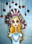 Alice Framed Prints - Alice and Cheshire Cat Framed Print by Lucia Stewart