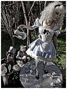 Tea Party Metal Prints - Alice and Friends 1 Metal Print by Kelly Jade King