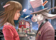 Luis Digital Art - Alice and Rabbit by Max Larin
