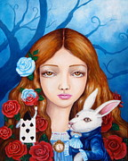 Alice In Wonderland Paintings - Alice And Red Roses by Edoen Kang