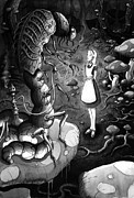 Gothic Drawings Originals - Alice and the caterpillar by Michael Brack