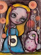 Alice In Wonderland Metal Prints - Alice and the Pink Bunny Metal Print by  Abril Andrade Griffith