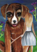 Childrens Book Paintings - Alice and The Puppy by Jaz Higgins