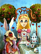 Table Cloth Painting Metal Prints - Alice and the rabbit having tea... Metal Print by Lucia Stewart
