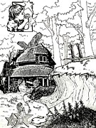 Mad Hatter Drawings Prints - Alice at the March Hares House Print by Keith QbNyc