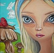 Surrealist Paintings - Alice Finds a Snail by Jaz Higgins