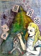 Crisis Mixed Media Posters - Alice in Bankland Poster by Christine Rossi