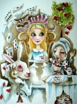 Alice In Wonderland Painting Metal Prints - Alice in Wonderland 1 Metal Print by Lucia Stewart