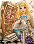 Alice-in-wonderland Framed Prints - Alice in Wonderland 2 Framed Print by Lucia Stewart