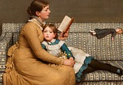 Reading With Mother Framed Prints - Alice in Wonderland Framed Print by George Dunlop Leslie
