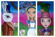 Cheshire Framed Prints - Alice in Wonderland Inspired Triptych Framed Print by Jaz Higgins