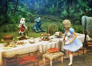 Tea Party Metal Prints - Alice in Wonderland Metal Print by Jutta Maria Pusl