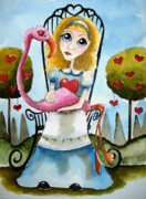 Alice In Wonderland Framed Prints - Alice in Wonderland Tell me... Framed Print by Lucia Stewart