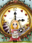 Alice In Wonderland Painting Metal Prints - Alice in Wonderland Tick Tock Metal Print by Lucia Stewart