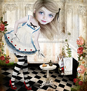 Photo Collage Digital Art Prints - Alice Print by Jessica Grundy