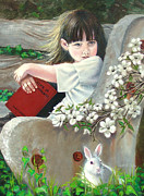 Alice In Wonderland Painting Originals - Alice by JoAnne Castelli-Castor