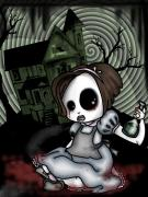 Creepy Digital Art Metal Prints - Alices Childhood Metal Print by Shannon Rene Justice