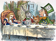 Mad Hatter Framed Prints - Alices Mad-tea Party, 1865 Framed Print by Granger