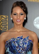 Stud Earrings Posters - Alicia Keys Wearing An Armani Dress Poster by Everett