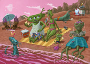 Cartoon Alien Posters - Alien Beach Vacation Poster by Martin Davey