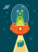 Spaceship Digital Art - Alien Beams by Jerrod Maruyama Illustration