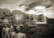 Alien Bug Photos - Alien Contact In The 1940s, Artwork by Detlev Van Ravenswaay