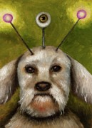 Schnauzer Puppy Posters - Alien Dog Poster by Leah Saulnier The Painting Maniac