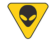 Grey Posters - Alien Grey hazard graphic Poster by Pixel Chimp