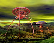 British Invasion Posters - Alien Invasion Poster by Victor Habbick Visions and Photo Researchers