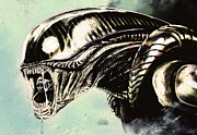 Charcoal Drawings Drawings Framed Prints - Alien Framed Print by Jeff DOttavio