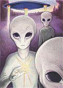 Flying Saucer Prints - Alien Offering Print by Amy S Turner