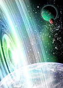 Warp Photos - Alien Planets And Space Warp, Artwork by Victor Habbick Visions