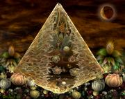 Digital Collage Posters - Alien Pyramid Poster by Peggi Wolfe
