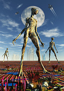 Alien World Prints - Alien Reptoid Beings Wearing Organic Print by Mark Stevenson