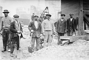 Mustaches Metal Prints - Alien Subway Workers With Shovels Metal Print by Everett