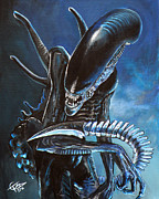 Alien Painting Originals - Alien by Tom Carlton