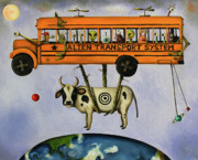 Planet Painting Metal Prints - Alien Transport System Metal Print by Leah Saulnier The Painting Maniac